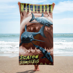 Beach Towel – Megalodon Scared Sharkless