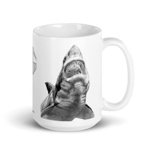Large 15 oz Coffee Mug – Great White 002 in Graphite