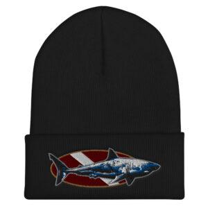 Cuffed Beanie – Dive Flag Shark