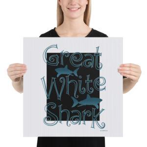 Matte Poster – Great White Shark Curlicute