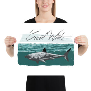Matte Poster – Great White Teal Beach